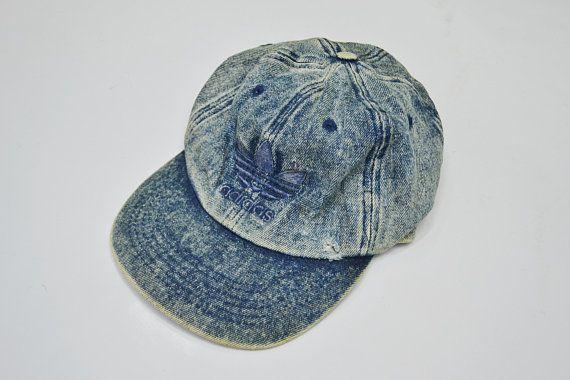 d54c434af883b Adidas Cap Vintage 90 s Adidas DISTRESSED Denim Cap Adidas Vintage Hat Made  in Taiwan R.O.C
