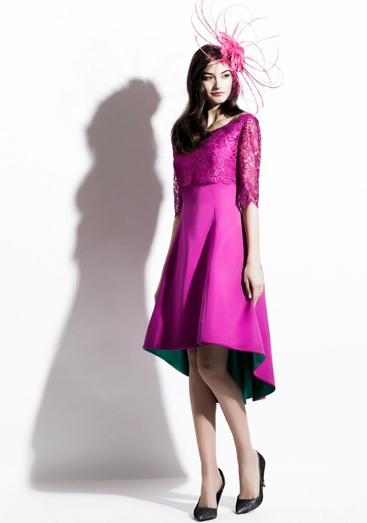 Gabriela Sanchez Lace Overlay Fit and Flare Dress, Fuschia Pink
