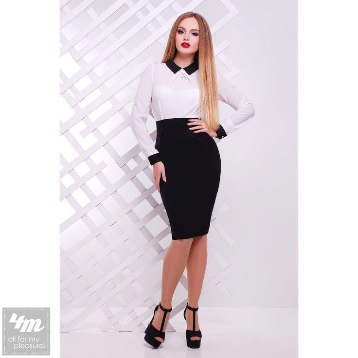 Платье Glem «Флоренс Д/Р» (Черный-белая отделка) http://lnk.al/3Bow  Состав: креп-костюмка (60% хлопок, 40% полиэстер)