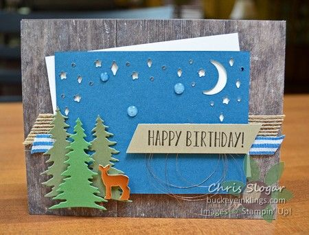 """You don't have to use the Card Front Builder Thinlits for Christmas. I used them with a greeting from """"Lemon Zest"""" for today's birthday card, and I went out of my way to include bling on this masculine card. I ended up using Copper Foil, Copper Metallic Thread, and Glitter Enamel Dots. So fun! These thinlits will be available starting August 1 as part of the Carols of Christmas bundle that will be released early from this year's Holiday Catalog. H..."""