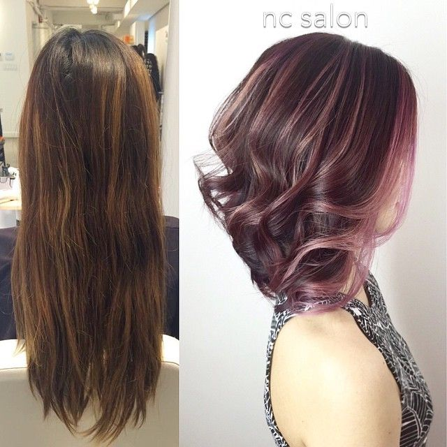 Pink highlights on dark hair. Rose gold?