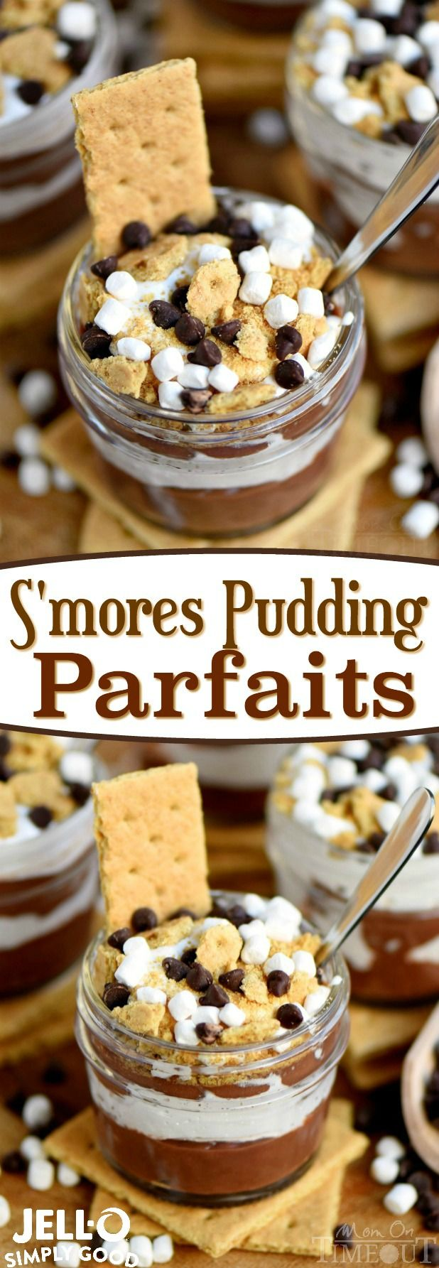 Welcome to your new favorite treat! These S'mores Pudding Parfaits are the perfect easy dessert made with new JELL-O SIMPLY GOOD pudding mix! Simple, sweet goodness that is impossible to resist! // Mom On Timeout #ad