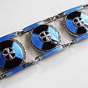 Vintage Art Deco Sterling Enamel Norway Meldahl Bracelet AS IS