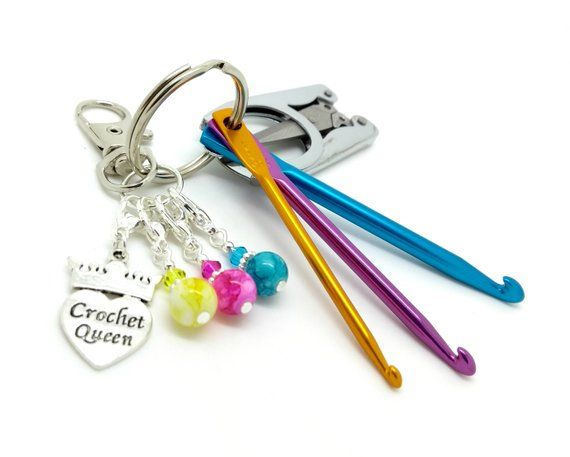 Includes Three Homemade Stitch Markers. Travel Crochet Hooks On A Keyring 3