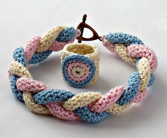 Crochet Bracelet and Ring Braided Icord Pink Blue Ecru