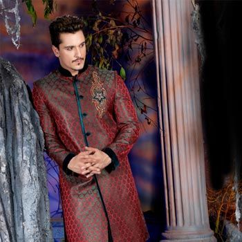 Maroon Jacquard Embroidered Sherwani with Patiala