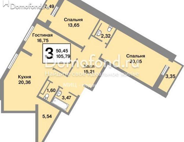 3-комнатная квартира на продажу - Юго-Западная метро : Domofond.ru