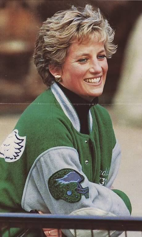 Princess Diana wearing a Philadelphia Eagles jacket