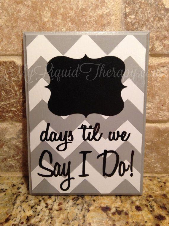 Gray Chevron Wedding Chalkboard Countdown by LiquidTherapy on Etsy, $16.95