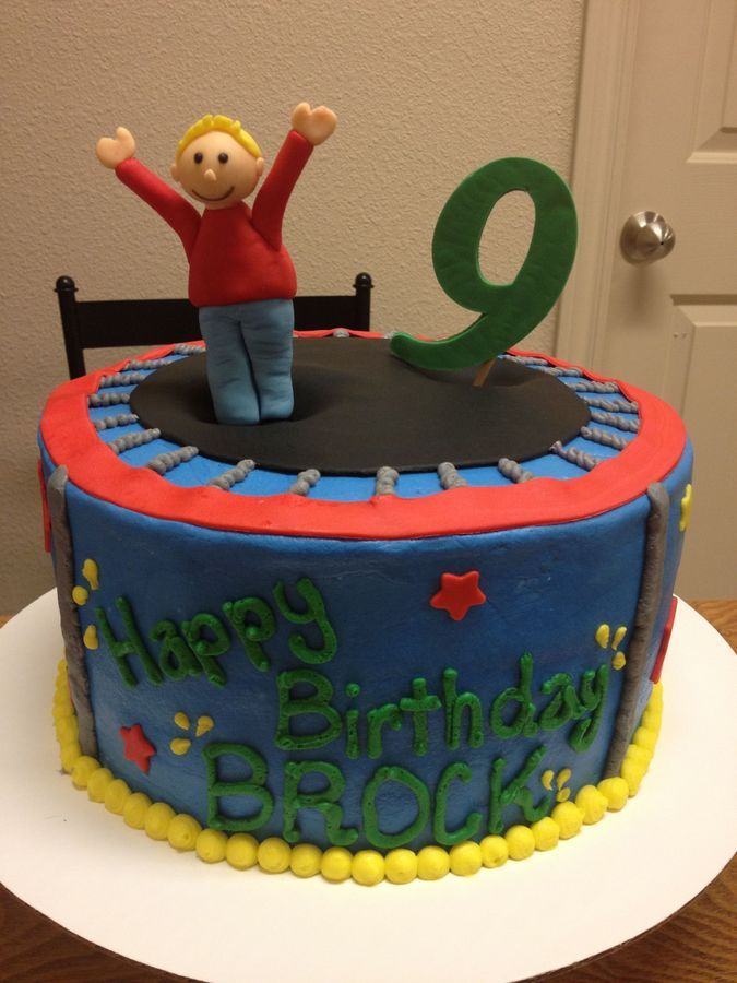 Trampoline cake with buttercream and fondant
