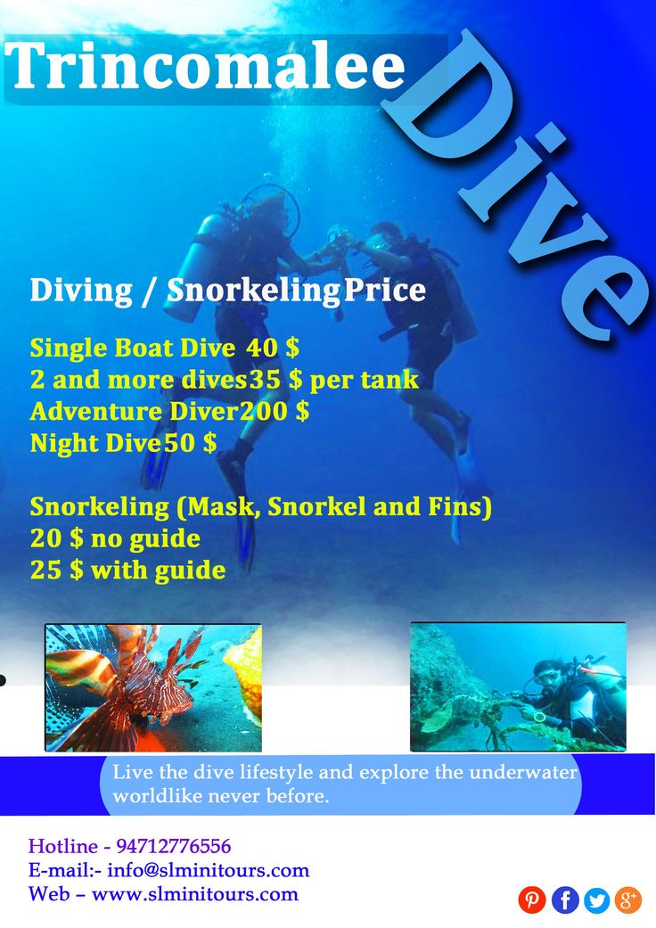 Diving in Trincomalee Rates Single boat dive                    40 2 and more dives35 Night Dive54 Snorkeling (Mask, Snorkel and Fins)24 Discover Scuba Diving72 Scuba Diver300 Scuba Diver Upgrade300 Open Water Diver420 Adventure Dive72 Adventure Diver240 Advanced Open Water Diver360 Emergency First Response240 Rescue Diver480  Many ship wreaks are spotted, Trincomalee is one of the oldest city in the Asia. Web – www.slminitours.com  E-mail:- info@slminitours.com  Phone:-  +9471…