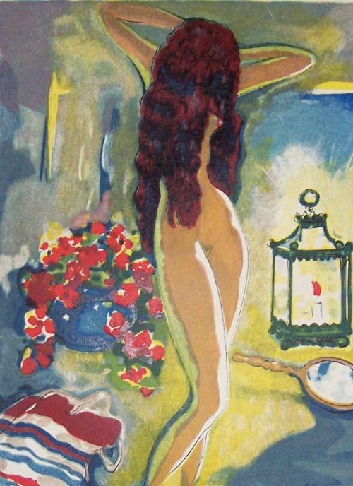 L'adolescente au Miroir  -   Kees van Dongen  Dutch  1877-1968  Wood engraving , watercolour