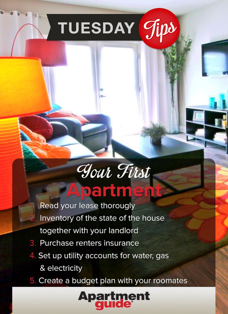 from ApartmentGuide.com  Don't stress about moving into your first place.  Remember these 5 tips for