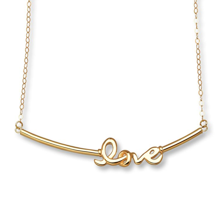 Love Bar Necklace 14K Yellow Gold