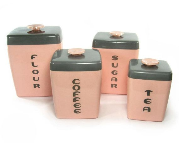 1950s pink canister set all original lustroware flour sugar coffee tea kitchen cannisters - Pink tea and coffee canisters ...