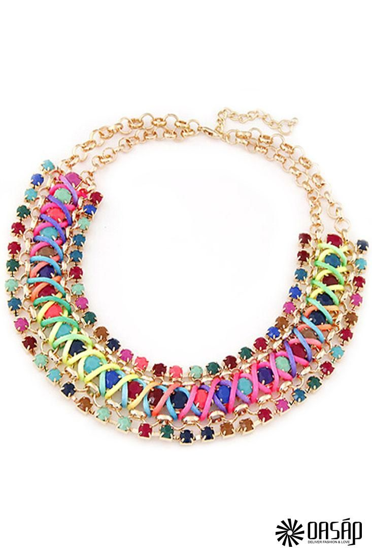 Chic Multicolor Woven Colorful Mixed Necklace.