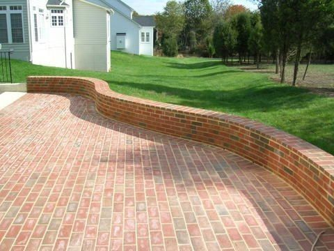 Brick Patios   Brick Patio Brick Patio And Small Wall Brick Stairs And  Wrought Iron .