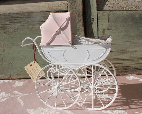 Vintage Baby Doll Carriage Pram Buggy Chalk Paint In