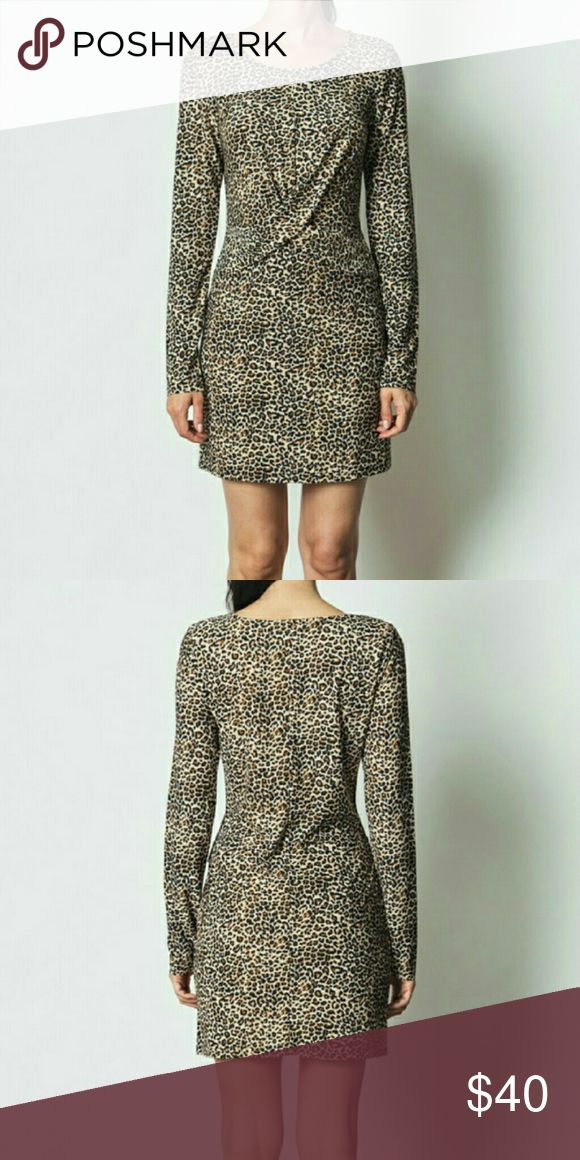 Cheetah Long Sleeve Dress Color - Camel 2 - Small 2 - Medium 2 - Large  94% polyester, 6% spandex Dresses Long Sleeve