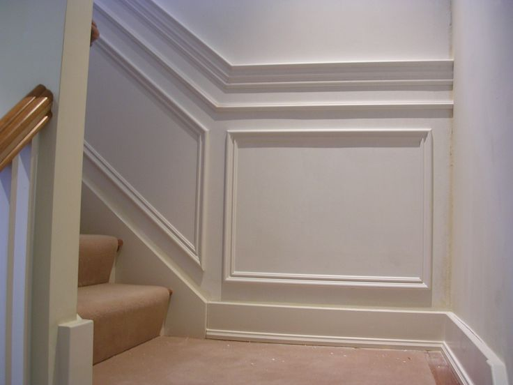 Chair Rail With Banding And Applique Squares Wainscoting