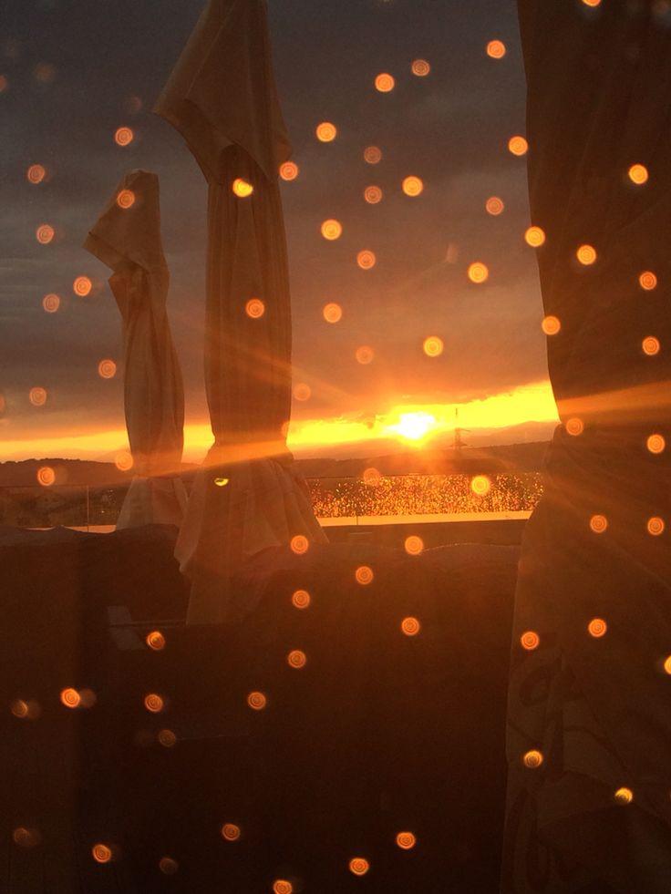 Sunset after rain in Targu-Jiu, the city of Constantin Brancusi