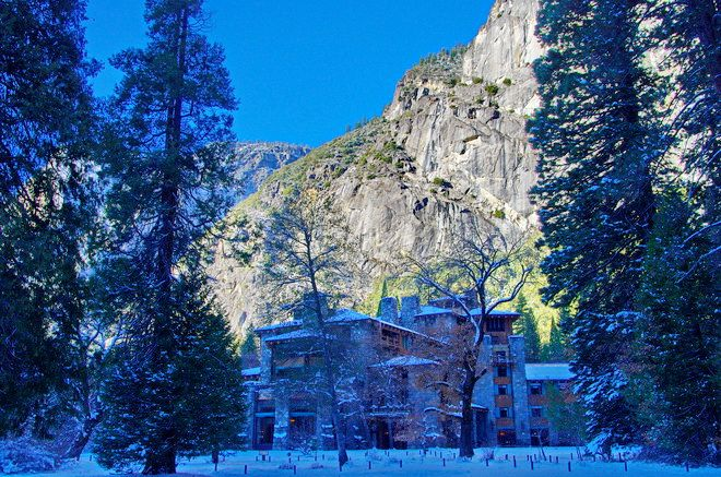 """A beautiful backdrop for the Ahwahnee Hotel"" in Yosemite"