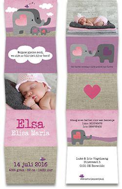 www.hetuilennestje.nl geboortekaartje Emma: Geboortekaartje, Olifantjes, Paars, Illustratief, olifant, dieren, landschap, roze, vogel, wolken, meisje.