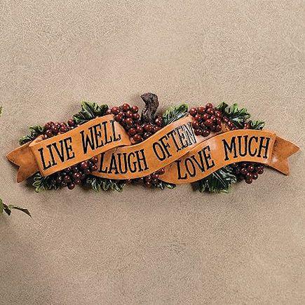 Grape Kitchen Items | Grapes Live Love Laugh Wall Sign Plaque Decor Hanging  Kitchen 16 Long