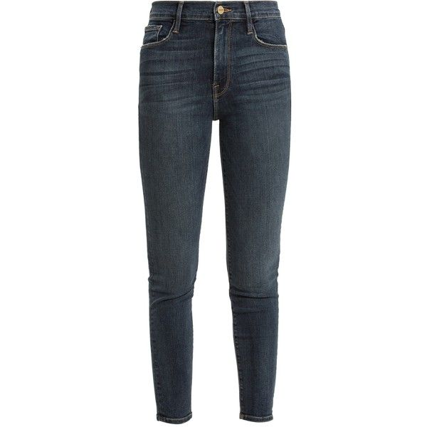 Frame High-rise cigarette jeans (18,850 PHP) ❤ liked on Polyvore featuring jeans, mid blue, cropped skinny jeans, frayed denim jeans, cropped jeans, blue jeans and high rise jeans