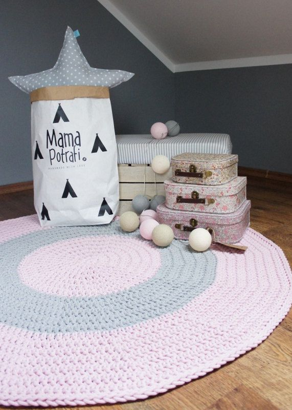 Crochet Round Rug, Children Crochet Rug, Cotton Yarn Rug Mat, Knit Rug/grey+pink/pink+grey/grey+mint/Mint+pink/ grey by MamaPotrafi on Etsy