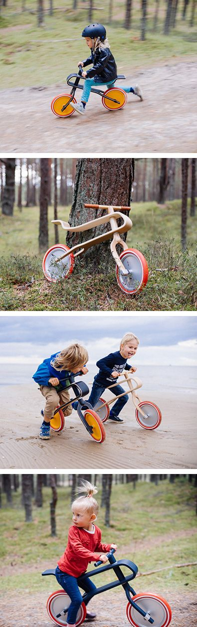 Designer Krisjanis Jermaks has created Brum Brum, a bike for children, that has a frame made from a single piece of bent plywood, natural built-in suspension and tubeless tires.