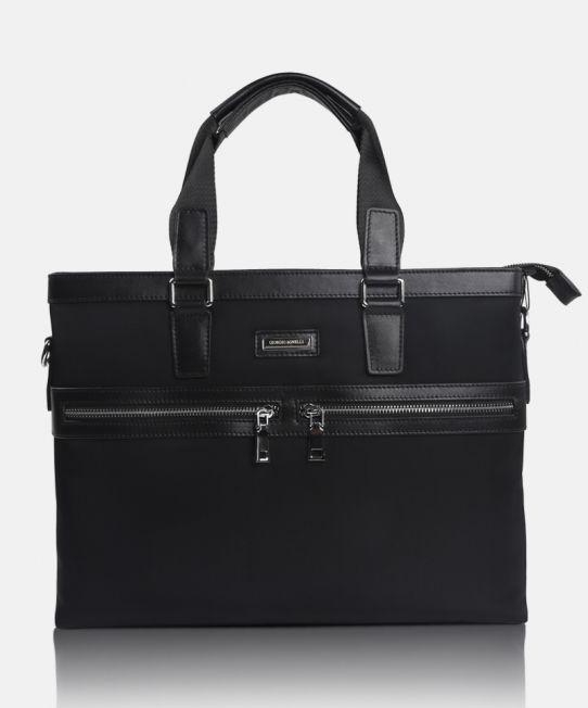 Verona 88213-1 Black, a masculine postman leather bag by Giorgio Agnelli.