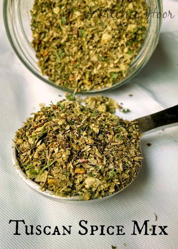 A Kitchen Hoors Adventures   Not quite the same as an Italian spice blend, this Tuscan Spice Mix not only has the flavors of Tuscany, but has a kick with some crushed red pepper.