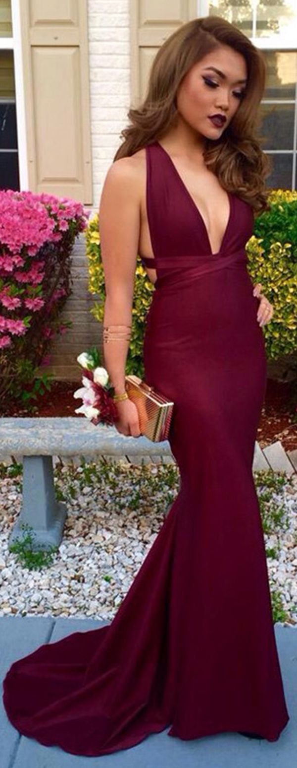 Stunning Satin Deep V-neck Neckline Mermaid Evening Dresses