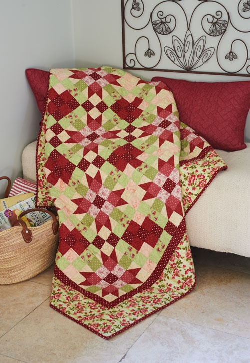 Starry Garden by Linda Hahn featured in  Simple Quilts & Sewing 2013. Fabrics from Avoncliff by Robyn Pandolph for RJR.