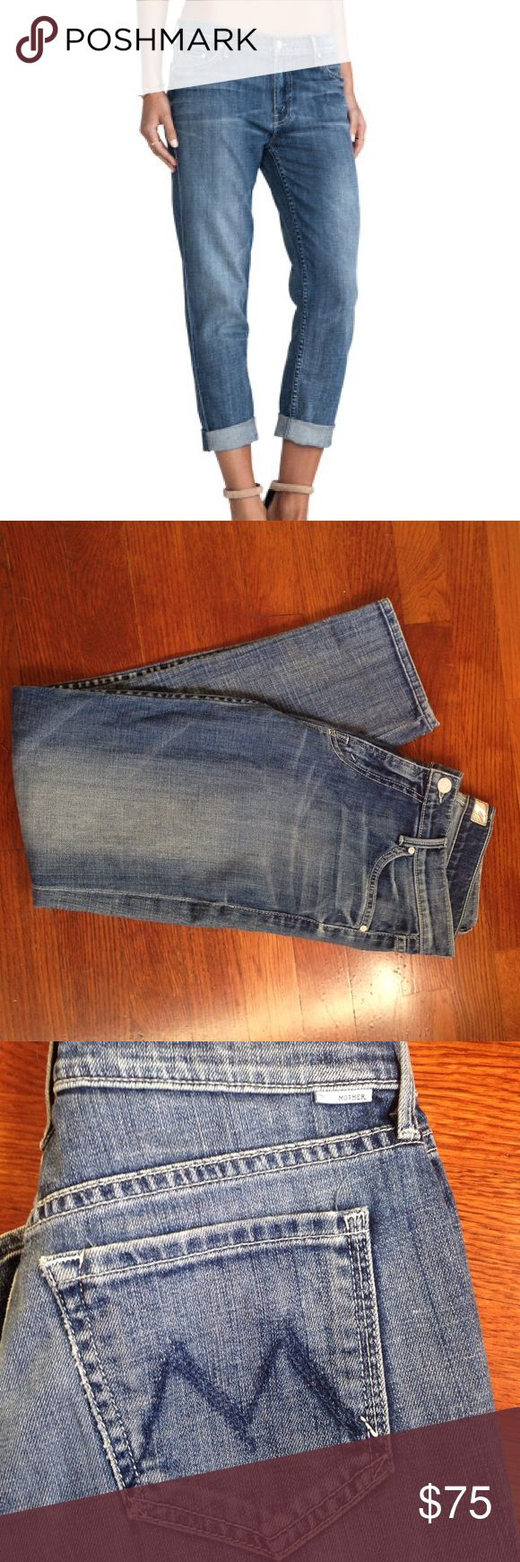 MOTHER Denim: THE DROP OUT Hooked Amazingly soft denim, most comfy jeans ever!  Can be rolled or straight leg, has a slight taper, boyfriend style. MOTHER THE DROP OUT HOOKED. In regards to fit, if you're a 25, they'll have more of a boyfriend fit (like picture 1); I'm a 27 and they fit me more like a fitted Jean (pix 3 and 4).  Super cute and comfy either way!  Inseam is 26 inches unrolled. MOTHER Jeans Boyfriend