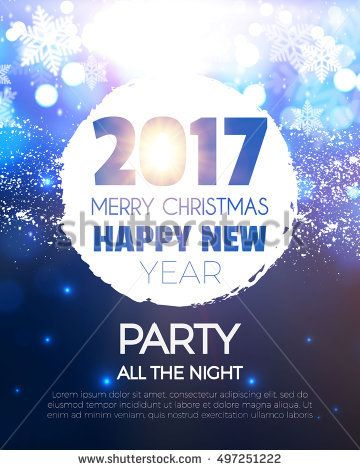 Christmas Party Poster. Happy 2017 New Year Flyer, Greeting Card, Invitation, Menu Design Template. Vector illustration