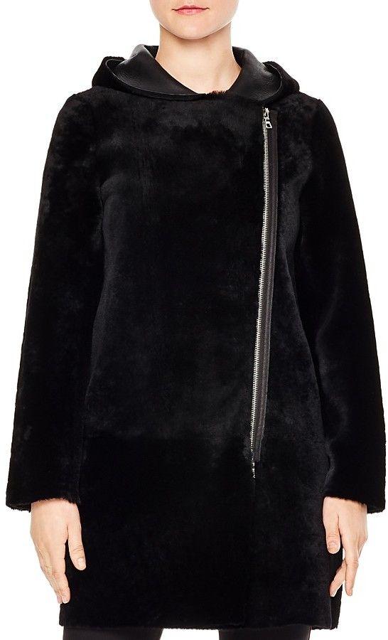 Sandro Bala Reversible Real Lamb Shearling Coat