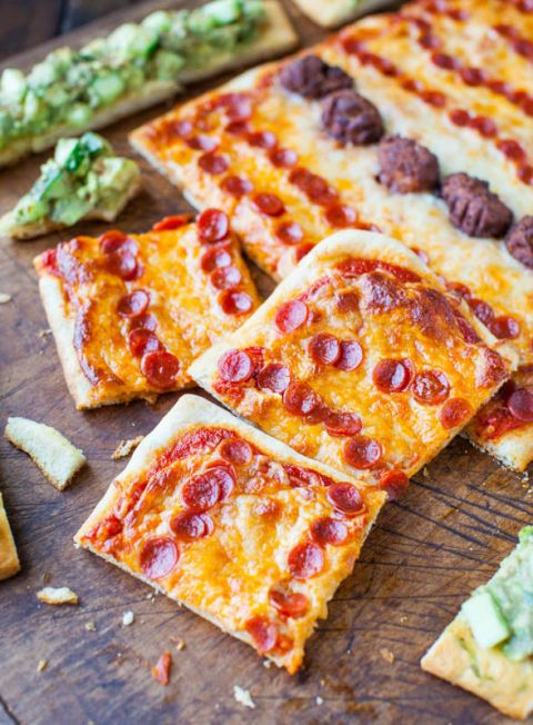 Pepperoni Pizza and Chipotle Avocado Cucumber Flatbreads @Averie Sunshine {Averie Cooks}