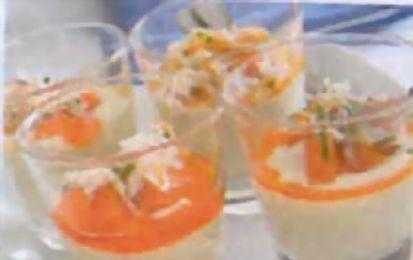 Salsa di granchio servita in bicchiere - ricetta della salsa di granchio servita in bicchiere