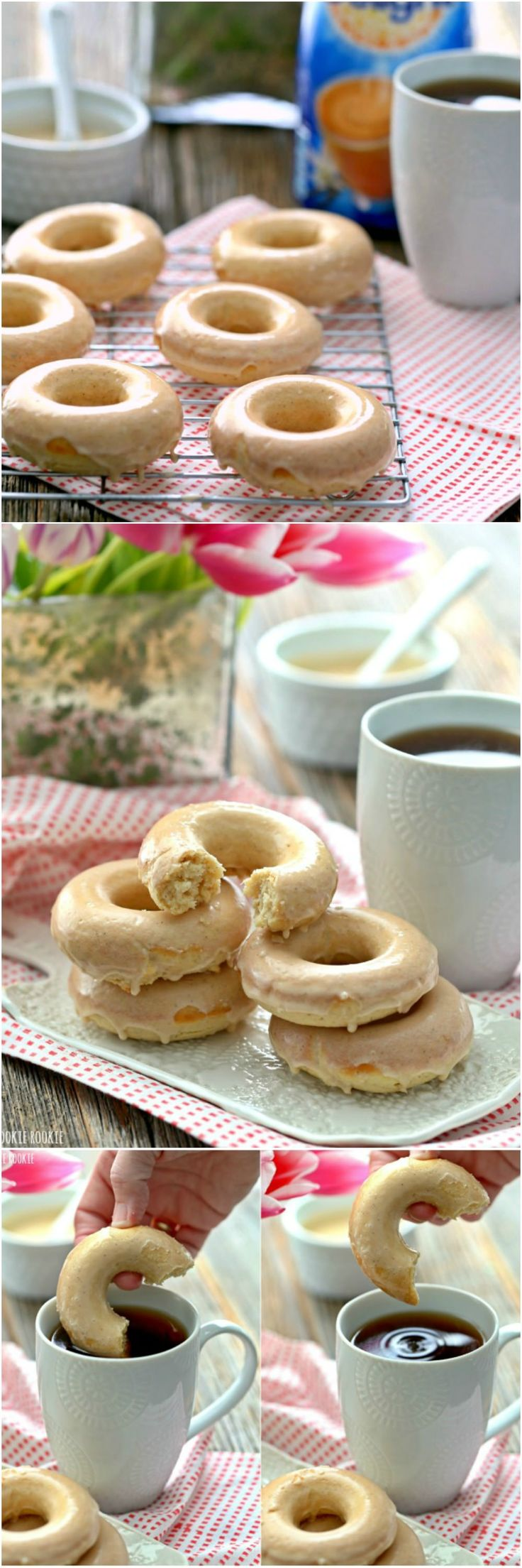 Skinny Caramel Vanilla Cream Baked Donuts are a healthy take on a breakfast favorite. Baked and not fried!