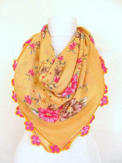 Mustard scarves  Square scarves Turkish Oya  by ScarfsSale on Etsy