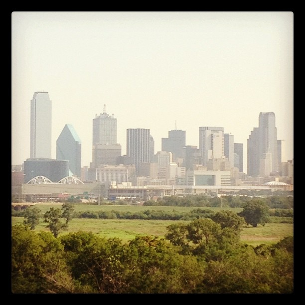 The #Dallas skyline from the School of Science and Engineering Magnet High School.