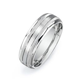 Fabulous White Gold or Platinum Wedding Bands for Men Comfort fit Double row etching with satin