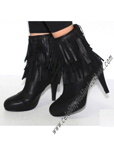 Fringed Ankle Heel #Boots - Heels - #Shoes now on SALE! (US$64.7) to US$36.99 #ankleboots http://celebrityfashionlookbook.com/shoes/heels/vintage-boho-faux-leather-black-fringed-ankle-heel-boots.html