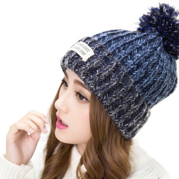 2016新しいブランドの女性の暖かいウール冬ビーニーニット毛皮キャップ帽子女性のためのバラクラバレターskulliesビーニーgorros