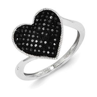 1/4 Carat Black Diamond Heart Shaped Ring In Sterling Silver Available Exclusively at Gemologica.com