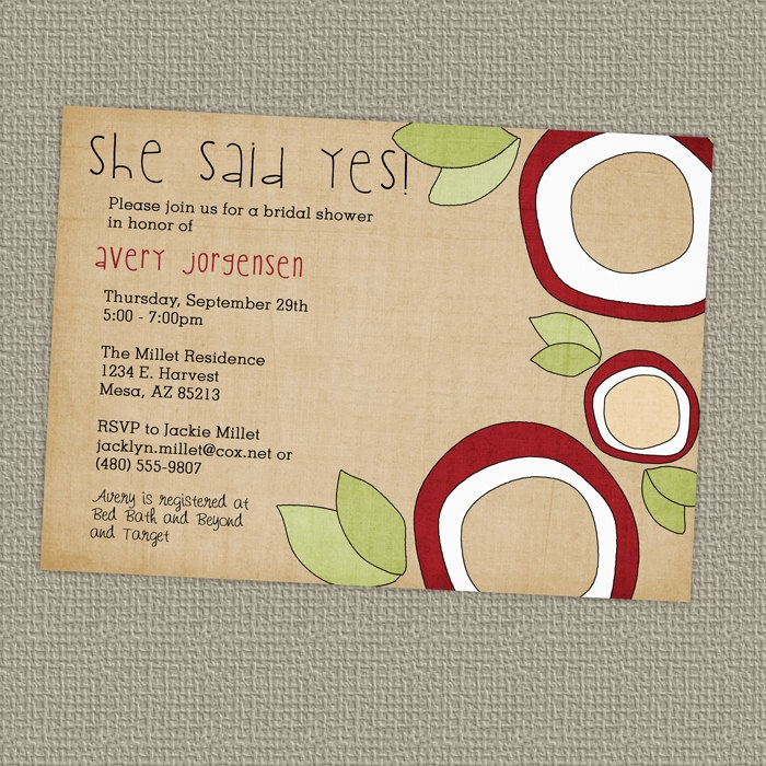 wedding shower poem ideas%0A she said yes bridal shower invitation www etsy com shop freshlysqueezedcards