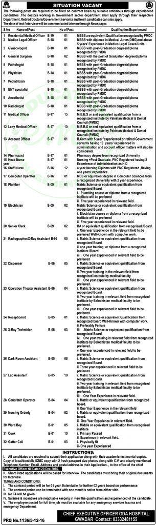 Job in Gwadar Development Authority GDA Hospital December 2016       Daily Newspaper Jobs 2016 | Jobs in Pakistan | Government Jobs |  Saudi Arabia Jobs | NTS Jobs      Vacancy / Positions of this Advertisement    Job in Gwadar Develo