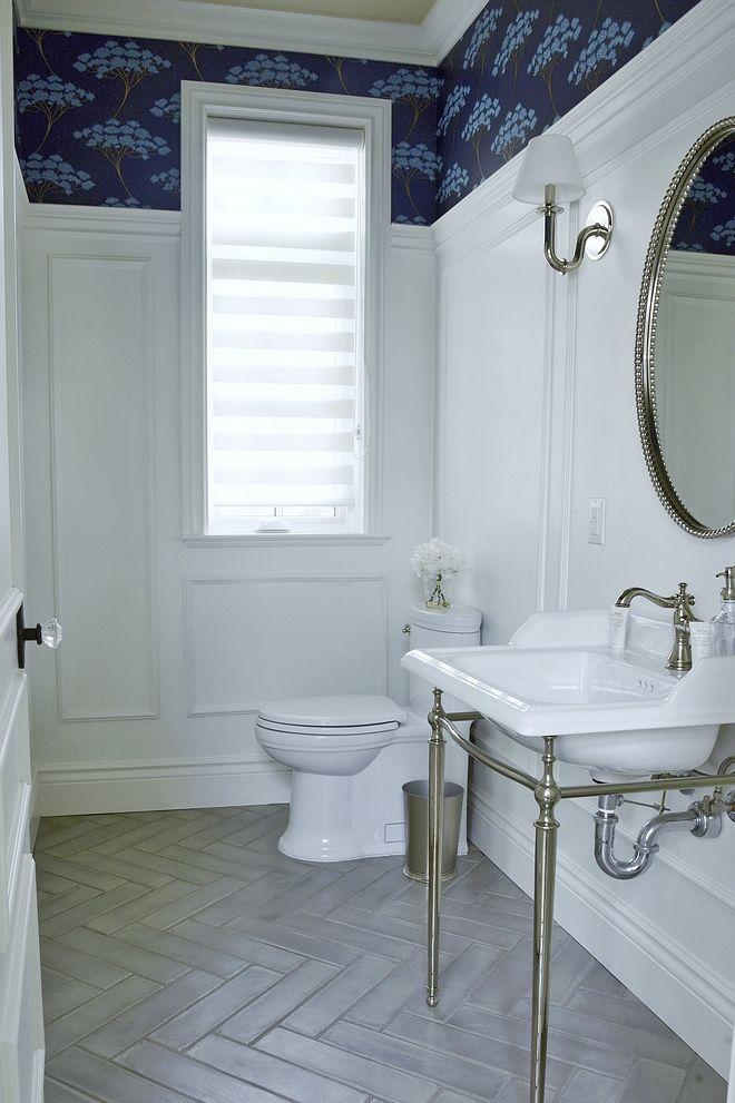 Powder Bathroom With Tall Wainscoting And Herringbone Floor Tile The Classic Herringbone Herringbone Floor Blue Bathroom Interior Luxury Bathroom Master Baths